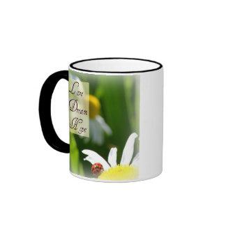 Love, Dream, Hope Ladybug Coffee Cup Ringer Coffee Mug