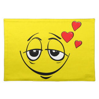 Love Drunk Happy Smiley Face Emoji Cloth Placemat