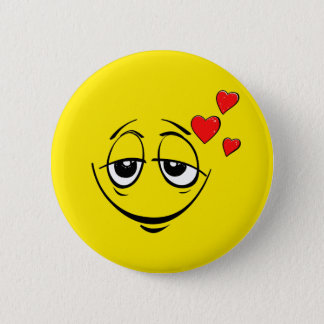 Love Drunk Happy Smiley Face Emoji Pinback Button