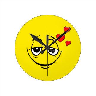 Love Drunk Happy Smiley Face Emoji Round Clock