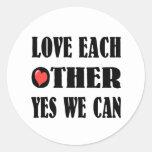 Love each other classic round sticker