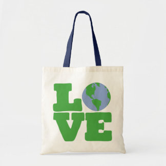LOVE Earth (green text) Tote Bag