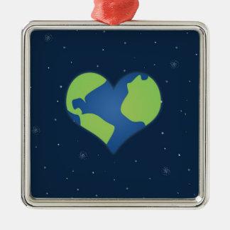 Love Earth Metal Ornament