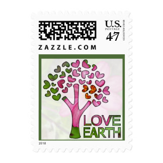Love Earth - pink tree & hearts postage stamp
