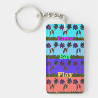 Love Eat Play Hakuna Matata Summer Floral Keychain