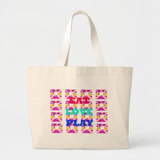 Love  Eat Play Heart Hakuna Matata colors.png Jumbo Tote Bag