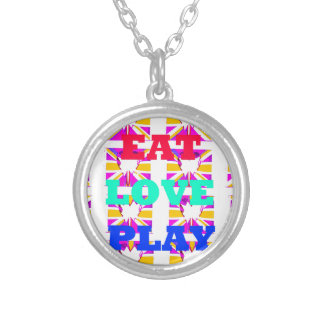 Love  Eat Play Heart Hakuna Matata colors.png Round Pendant Necklace
