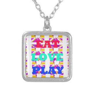 Love  Eat Play Heart Hakuna Matata colors.png Square Pendant Necklace