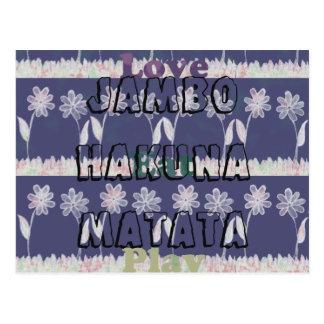 Love Eat Play Jambo Hakuna Matata floral Postcard