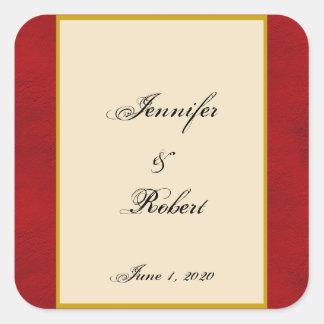 Love Eiffel Tower Red Gold Wedding Envelope Seal Square Sticker