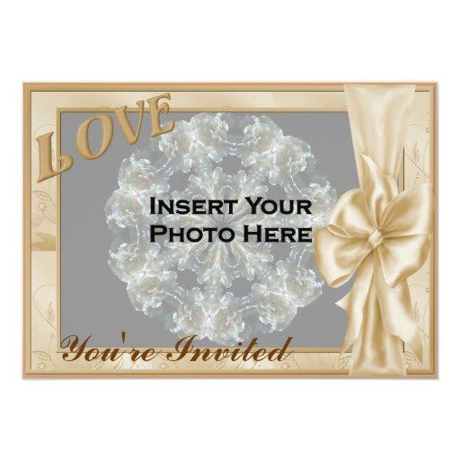 "Love Elegant Frame Photo Bridal Shower Invitation 5"" X 7"" Invitation Card"