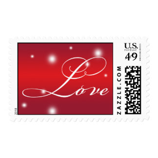 LOVE elegant script red white glow holiday stamp