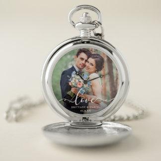Love Elegant White Script Photo Wedding Silver Pocket Watch