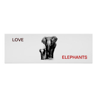 Love Elephant & Baby Elephant Poster