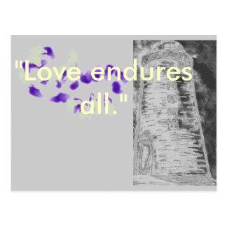 Love endures all. postcards