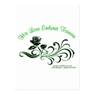 love endures green and black postcard