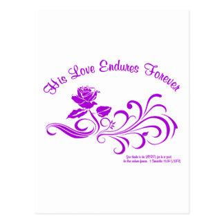 love endures purple postcard