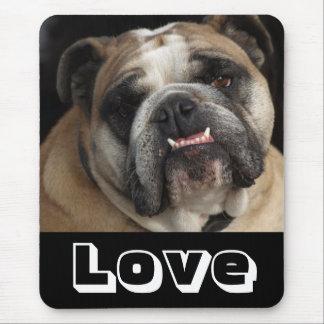 Love English Bulldog Puppy Dog Black Mousepad