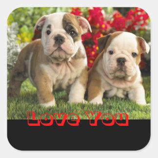 Love English Bulldog Puppy Dog Greeting Sticker