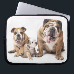"Love English Bulldog Puppy Dog Laptop Sleeve Case<br><div class=""desc"">Love at first sight... .Who can resist the cute face of an English Bulldog. This laptop sleeve features a portrait of a happy brown and white bulldog family sending you love. Laptop computer sleeves make great gifts for yourself or the special dog lover in your life.</div>"