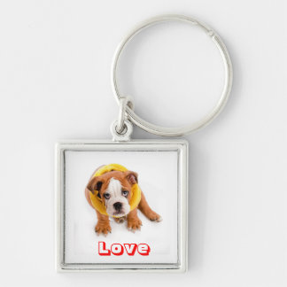 Love English Bulldog Puppy in Sweater Keychain