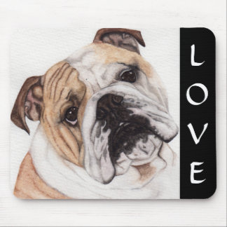 Love English Bulldog Watercolor Painting Mousepad
