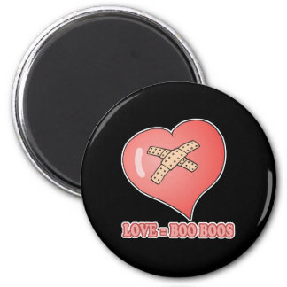 love equals boo boos 2 inch round magnet