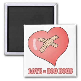 love equals boo boos 2 inch square magnet