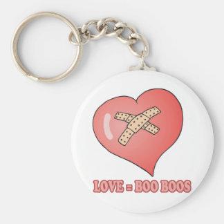 love equals boo boos basic round button keychain
