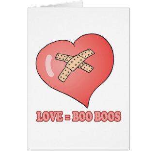 love equals boo boos greeting card