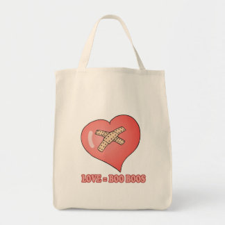 love equals boo boos grocery tote bag