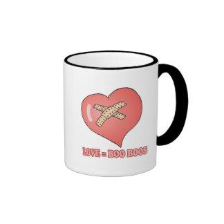 love equals boo boos ringer coffee mug