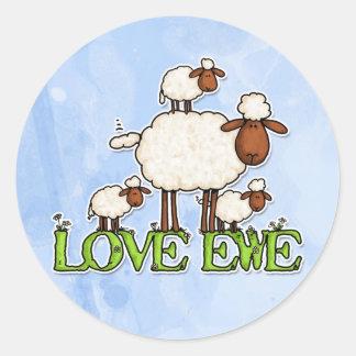 love ewe classic round sticker