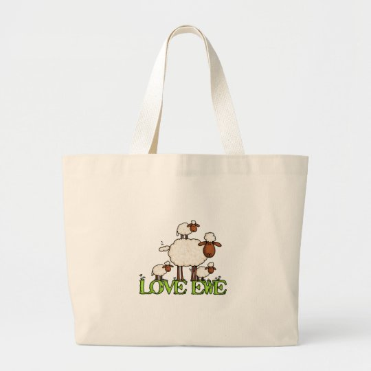 love ewe txt large tote bag