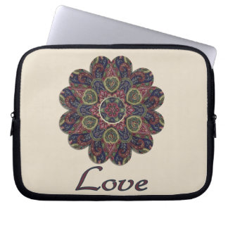 LOVE Fabric Collage Flower Inspiration Series Laptop Sleeve