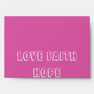 Love Faith Hope Inspirational Virtues Elegant Pink Envelope