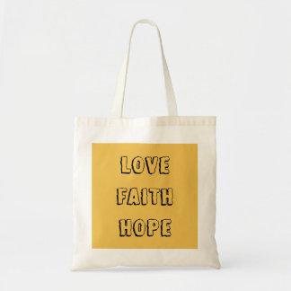 Love Faith Hope - Inspirational Virtues Tote Bag