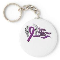 Love Faith Hope Pancreatic Cancer Keychain