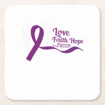 Love Faith Hope Pancreatic Cancer Square Paper Coaster