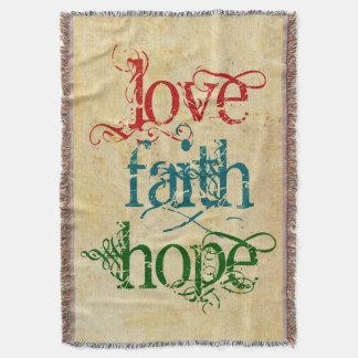 LOVE FAITH HOPE + your background color Throw