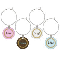 Love family laugh live Wine Charms Pastel