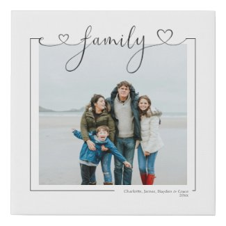 Love Family Personalized Photo and Text Typography Faux Canvas Print