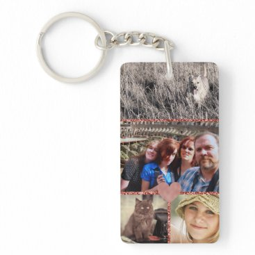 Wedding Themed Love Family Photo Collage Girly Heart Keychain