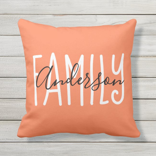 Love Family Rustic Modern Chic Coral Throw Pillow
