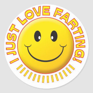 Love Farting Smiley Classic Round Sticker
