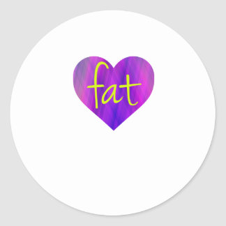 Love Fat (Purple and Yellow) Classic Round Sticker
