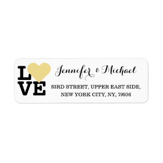 Love Faux Gold Heart Custom Wedding Valentines Day Label