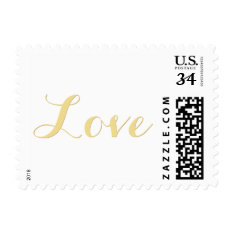 Love Faux Gold Valentines Day Wedding Usps Postage at Zazzle