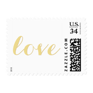 Love Faux Gold Valentines Day Wedding USPS Postage