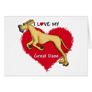 Love Fawn Great Dane UC Greeting Card